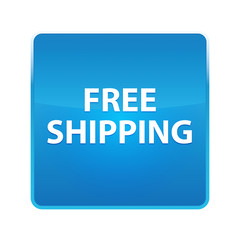 Free Shipping shiny blue square button