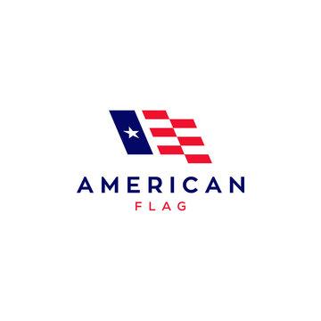 american flag vector logo design