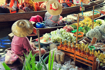 Traditional Floating Market, Bangkok, Thailand