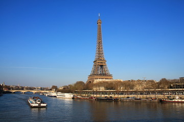 Beautiful sky over the Eiffel tower and river seine, Paris capital and the most populous city of France