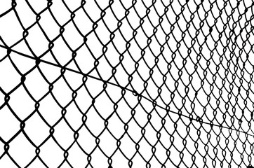 chain link fence on a white background
