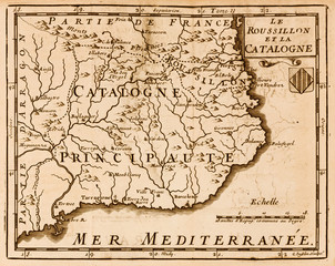 Old map of Catalonia in Spain. Vintage style