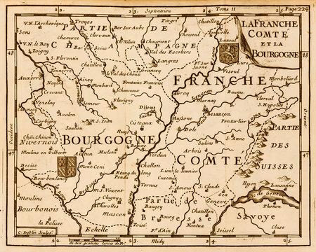 Old map of Franche Comté de Bourgogne. France. Vintage style