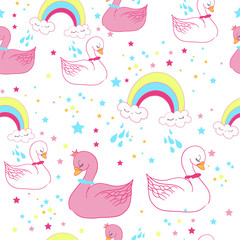Seamless sweet baby swan pattern vector