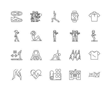 Aerobics line icons, linear signs, vector set, outline concept illustration
