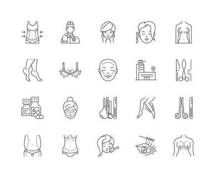 Aesthetic medicine line icons, linear signs, vector set, outline concept illustration