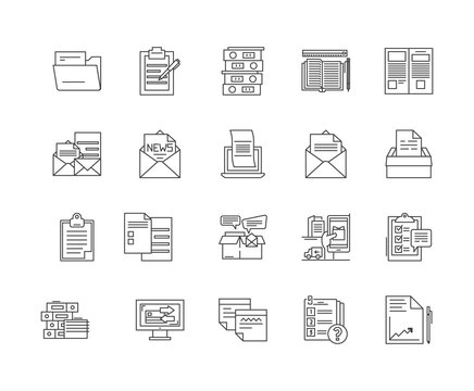 Archive line icons, linear signs, vector set, outline concept illustration