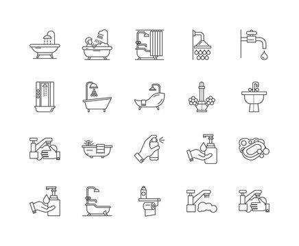 Bath line icons, linear signs, vector set, outline concept illustration
