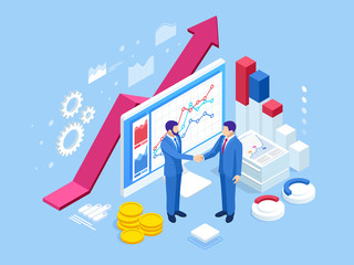 Isometric Successful business collaboration. Businessmen shaking hands. B2B. Data and key performance indicators for business intelligence analytics