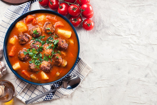 Albondigas - tomato soup with meatballs