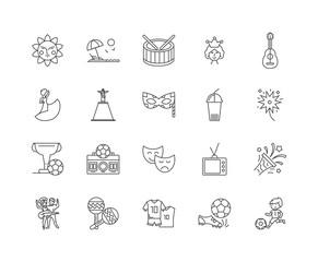 Brazil line icons, linear signs, vector set, outline concept illustration