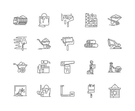 Build materials line icons, linear signs, vector set, outline concept illustration