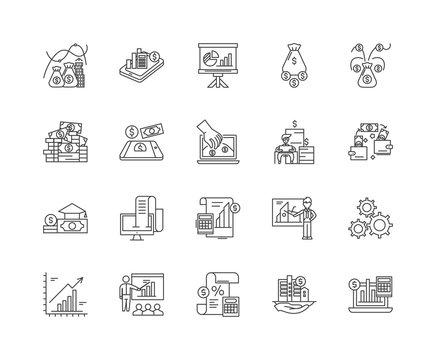 Builders merchants line icons, linear signs, vector set, outline concept illustration