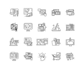 Computer animation line icons, linear signs, vector set, outline concept illustration