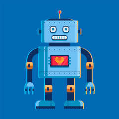 toy robot stands and looks at us. on the chest screen with a heart. character vector illustration on blue background.