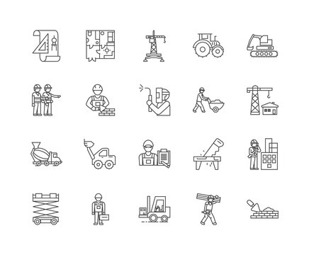 Construction worker line icons, linear signs, vector set, outline concept illustration