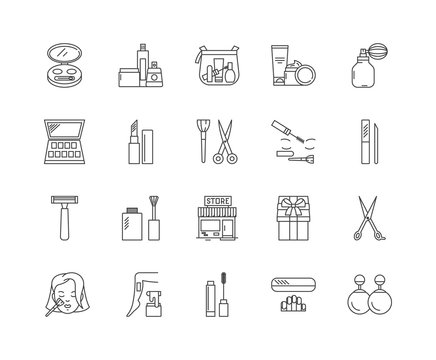 Cosmetic shop line icons, linear signs, vector set, outline concept illustration