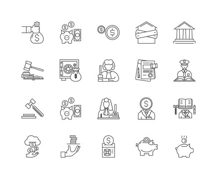 Debt collector line icons, linear signs, vector set, outline concept illustration