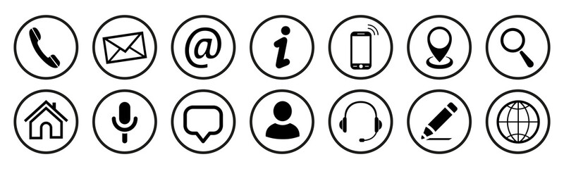 Set contact icons button - vector for stock