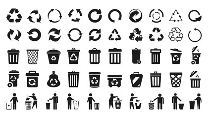 Recycle icons set and trash can icons with man - stock vector