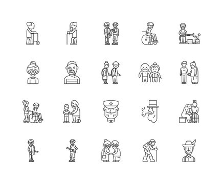 Elderl line icons, linear signs, vector set, outline concept illustration