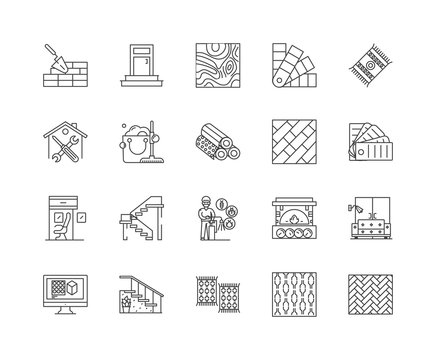 Floor line icons, signs, vector set, outline illustration concept