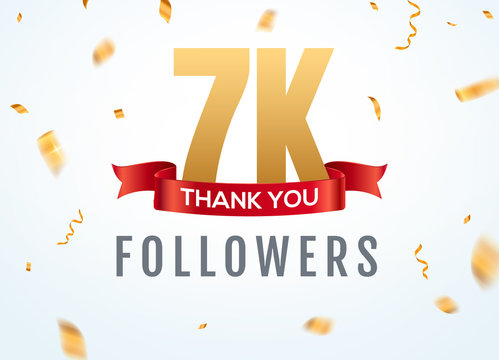 Thank you 7000 followers design template social network number anniversary. Social 7k users golden number friends thousand celebration