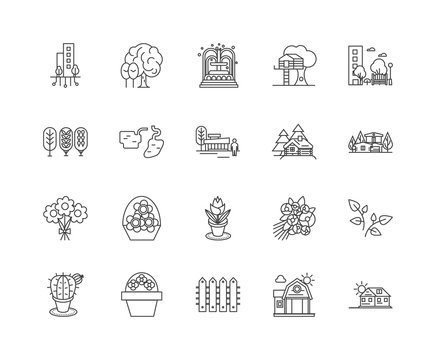 Home landscaping line icons, linear signs, vector set, outline concept illustration