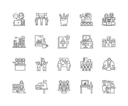 Home office line icons, linear signs, vector set, outline concept illustration