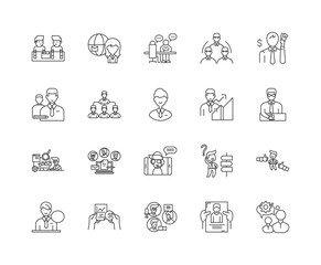 Import agents line icons, linear signs, vector set, outline concept illustration
