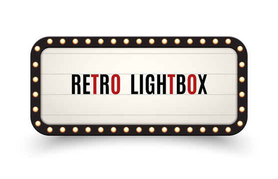 Retro lightbox billboard vintage frame. Vintage banner light box. Cinema or show signboard decoration advertise