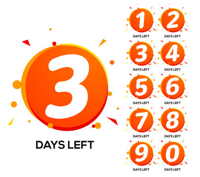 Countdown left days. One two three day left number, count time sale week banner