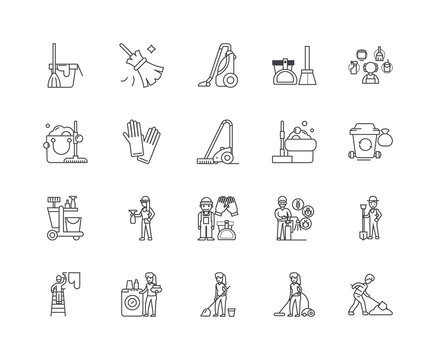 Janitorial service line icons, linear signs, vector set, outline concept illustration