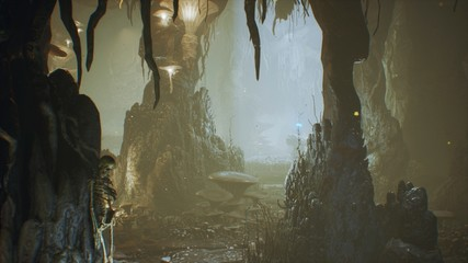 Ancient huge fantasy cave filled with ancient mushrooms and magical fog with dust. 3D Rendering Fototapete