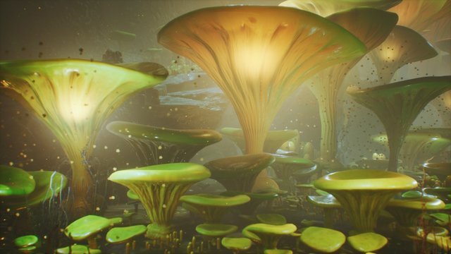 Fantasy mushrooms in a magic forest. Beautiful magic mushrooms in the lost forest and fireflies on the background with the fog. 3D Rendering