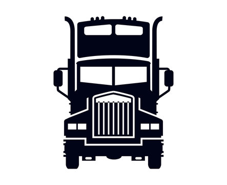 Semi truck lorry silhouette  on white background