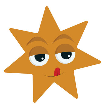 Emoji of a seven-pointed yellow star, vector or color illustration