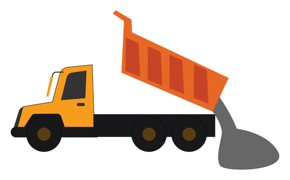 Clipart of a yellow dump truck in operational process/The large goods vehicle, truck/Semi-tractor trailers, vector or color illustration