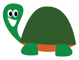 Cartoon picture of a laughing turtle over white background viewed from the side, vector or color illustration.