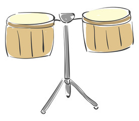 Painting of the percussion brown timbale drum set/Pailas, vector or color illustration.