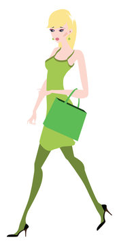 A beautiful woman heading to shopping in matching dress and handbag, vector or color illustration.