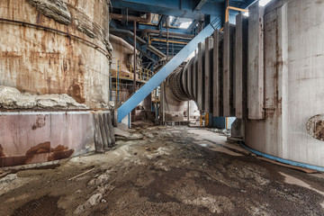 scene and details of an abandoned steel furnace building
