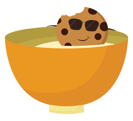 Image of cookie in milk - bowl of milk, vector or color illustration.