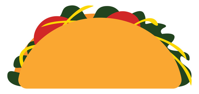 Taco with filling, vector or color illustration.