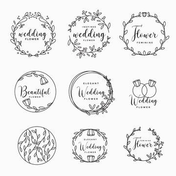 Feminine Floral wedding logo collection