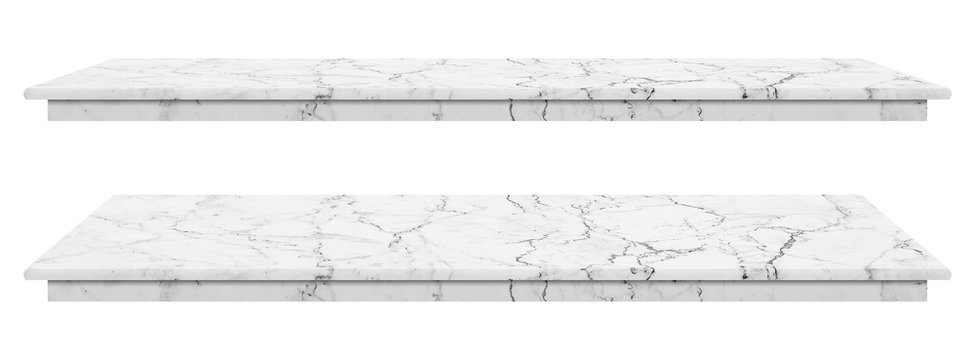 Marble table, counter top white surface, Stone slab for display products isolated on white background have clipping path