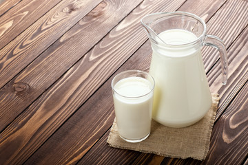 milk in glass and jug