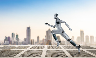 robot running or jumping