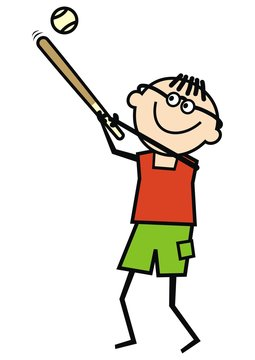 Baseball Player, single male, funny vector illustration. One young man doing sports. Man with baseball bat and ball.
