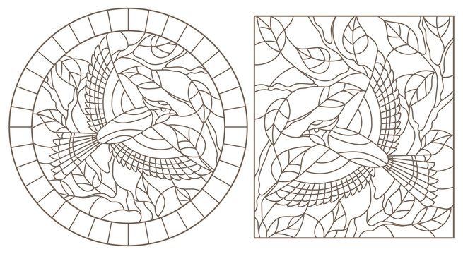 A set of contour illustrations of stained glass Windows with birds on the background of branches and leaves , dark contours on a white background